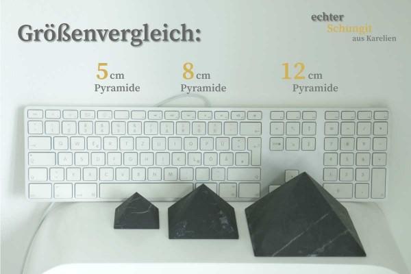 Schungit Pyramiden matt Größenvergleich
