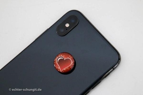Schungit Platte für Smartphone Herz