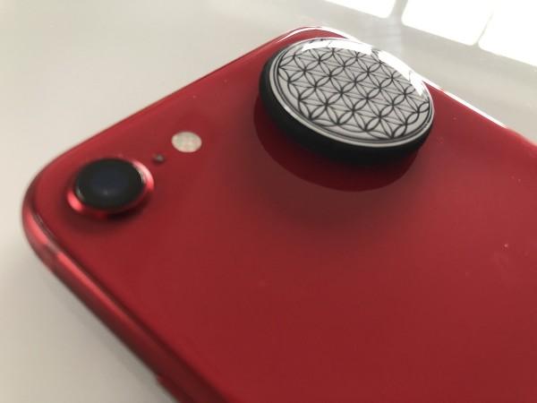 Schungit Platte für Smartphone und Handy Motiv Blume des Lebens