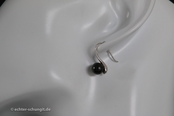 Schungit Ohrstecker Ohrring Wind Silber