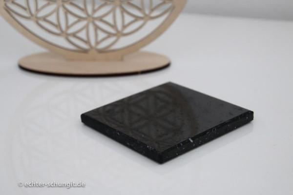 Schungit Platte poliert quadratisch