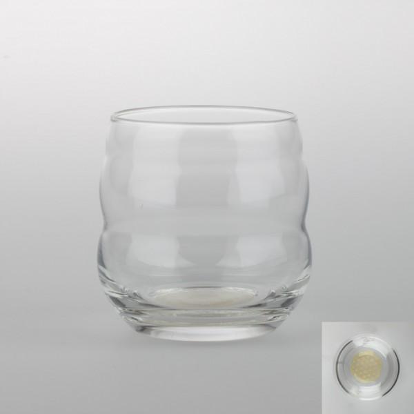 """Becher aus Glas 0,25 l - selbstaufrichtend mit Lebensblume """"Gold"""""""